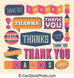 A set of retro style 'Thank You' design elements.