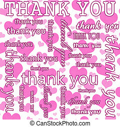 Thank You Design with Pink and White Hearts Tile Pattern Repeat Background