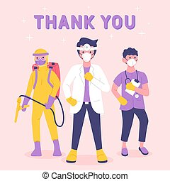 Thank you doctors and nurses medical personnel team for fighting the coronavirus. Appreciation for Health Care workers, doctors, nurses Service and Sacrifice.