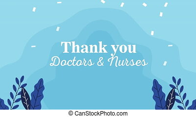 thank you doctors and nurses message lettering ,4k video animation