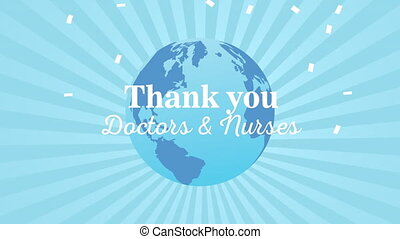 thank you doctors and nurses message lettering with earth planet ,4k video animation