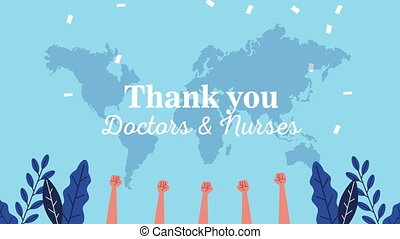 thank you doctors and nurses message lettering with hands up ,4k video animation