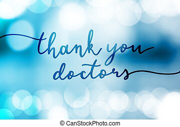 thank you doctors vector lettering on lights
