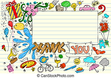 Thank You Doodle - illustration of thank you card in doodle...