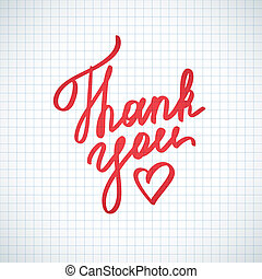 thank you, vector handwritten text with heart