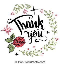 Thank you floral wreath calligraphy - Thank you. Brush pen...