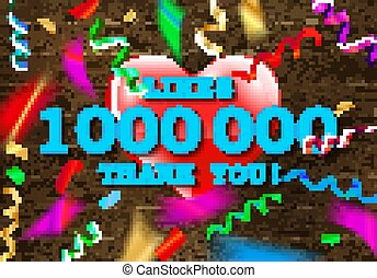 Thank you for 1 million likes. Banner with colored confetti...