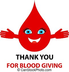 Thank you for blood giving - text. Blood donation abstract concept
