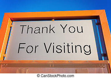 Thank You For Visiting sign with the blue sky in the background