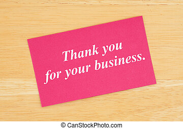 Thank you for your business text on pink card