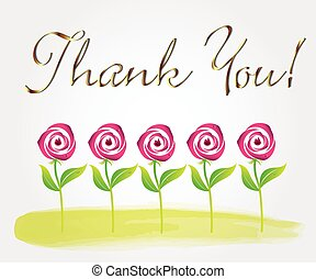 Thank you rose flowers greetings card watercolor,vector image graphic design template