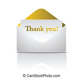 thank you golden envelope design isolated over a white...