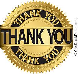 Thank you golden label, vector illu