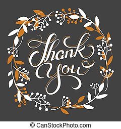 Thank you golden lettering card with wreath Vector illustration