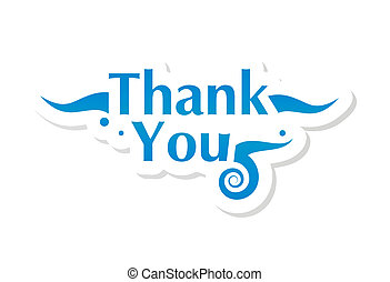 Thank you graphic isolated on white. Vector illustration.