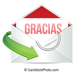 Thank You gratitude card envelope in spanish illustration...