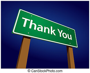 Thank You Green Road Sign Illustration