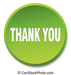 thank you green round flat isolated push button