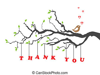 'Thank you' greeting card with bird. This image is a vector illustration.
