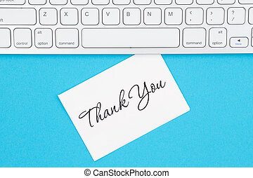 Thank you greeting card with gray keyboard