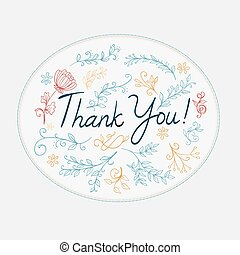 thank you greeting with doodle floral elements. vector