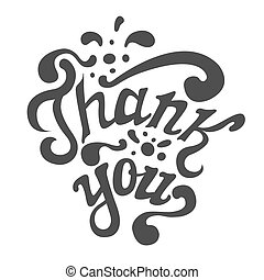 Thank You hand drawn lettering, calligraphy, greeting card template