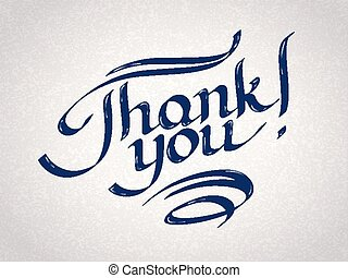 Thank you hand-drawn lettering. Eps 10 vector illustration