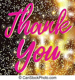 Thank You Hand lettering Greeting Card. Isolated Vector On Gradient Background. Handmade Calligraphy.