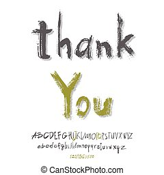 Thank you hand lettering, handmade calligraphy, vector