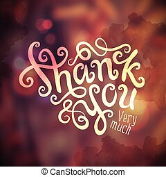 Thank You hand lettering - handmade calligraphy, vector