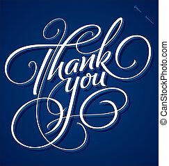 'Thank You' hand lettering - handmade calligraphy, vector (eps8);