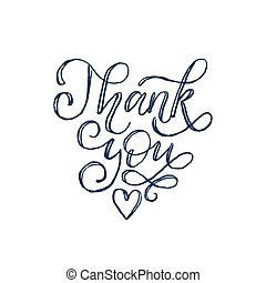 Thank You, hand lettering.Vector calligraphic inscription on white background.