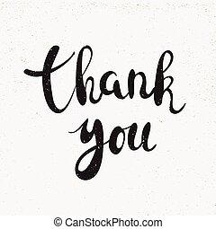Thank you handwritten calligraphy vector illustration, Black...