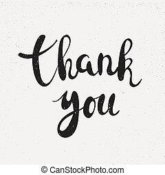 Thank you handwritten calligraphy vector illustration, Black brushpen lettering phrase on white background.