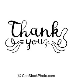 Thank You handwritten inscription isolated on white background