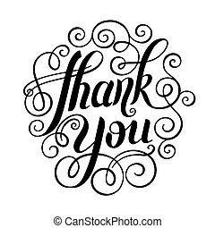 thank you handwritten lettering inscription vector...