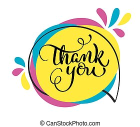 Thank you handwritten vector illustration, colorful lettering on tag