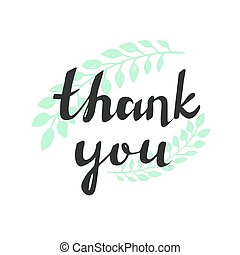 Thank you handwritten vector illustration, dark brush pen lettering on floral background