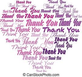 Thank you - heart shape tagcloud purple, pink