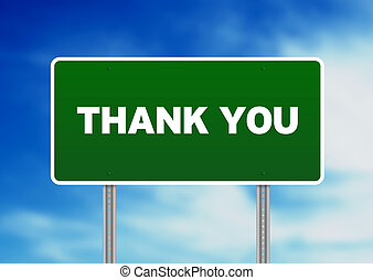 Thank You Highway Sign - High resolution graphic of a green...
