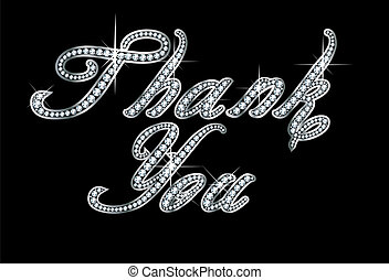 Thank You in Script Diamond Bling