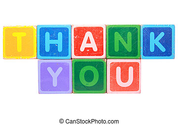 thank you in toy block letters