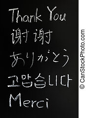 Thank you in various languages - Thank you written with...