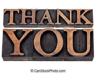thank you - isolated text in vintage letterpress wood type printing blocks
