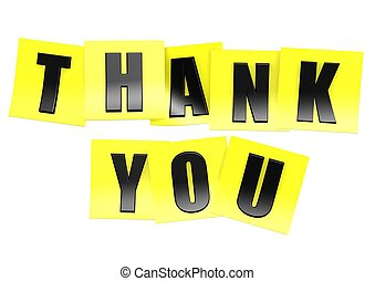 Thank you in yellow note - Rendered artwork with white...