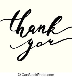Thank you ink lettering phrase. Watercolor painted vector illustration for web, print, crd, crapbooking design.