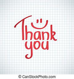 Thank You inscription, hand drawn vector illustration