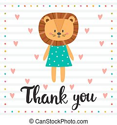 Thank you. Inspirational quote. Hand drawn lettering. Motivational poster. Cute lion