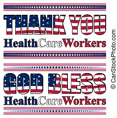 Vector illustration with thank you lettering for healthcare professionals for their efforts against the Covid-19 pandemic