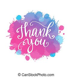 Thank you lettering quote on watercolor imitation background